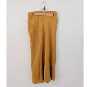 Anthropologie Mustard Yellow Midi Skirt